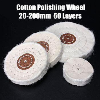 50-200mm Blanc Coton Fiber Roue De Polissage En Tissu Or Argent Bijoux Miroir Roue De Polissage 4mm trou intérieur 50 Couches