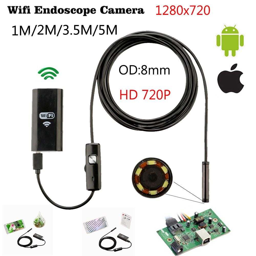 8mm 1/3/5 M dur Wifi Endoscope Mini Android IOS Ipad caméra d'inspection Ip67 étanche Endoscope caméra Android PC