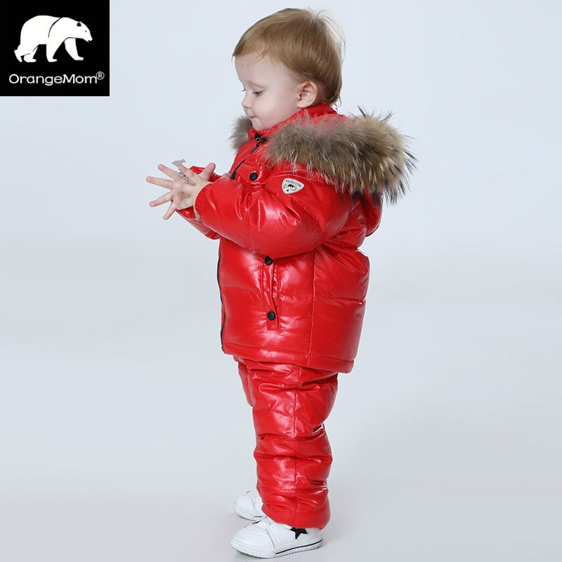 -30 degree Russia Winter children's clothing sets , <font><b>girls</b></font> clothes for new year's Eve boys parka jackets coat down snow wear