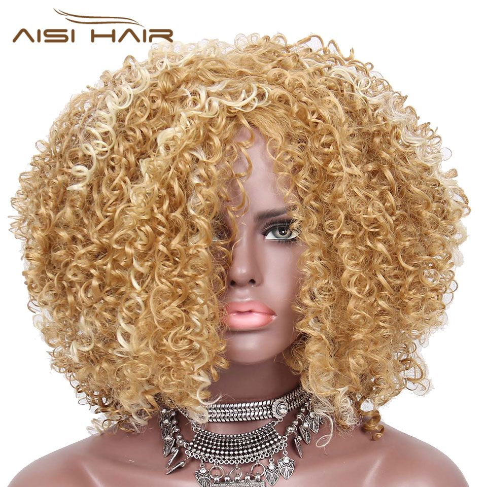 I's a wig Red Golden Synthetic Afro Kinky Curly Wigs for  Women Blonde and Golden Hair