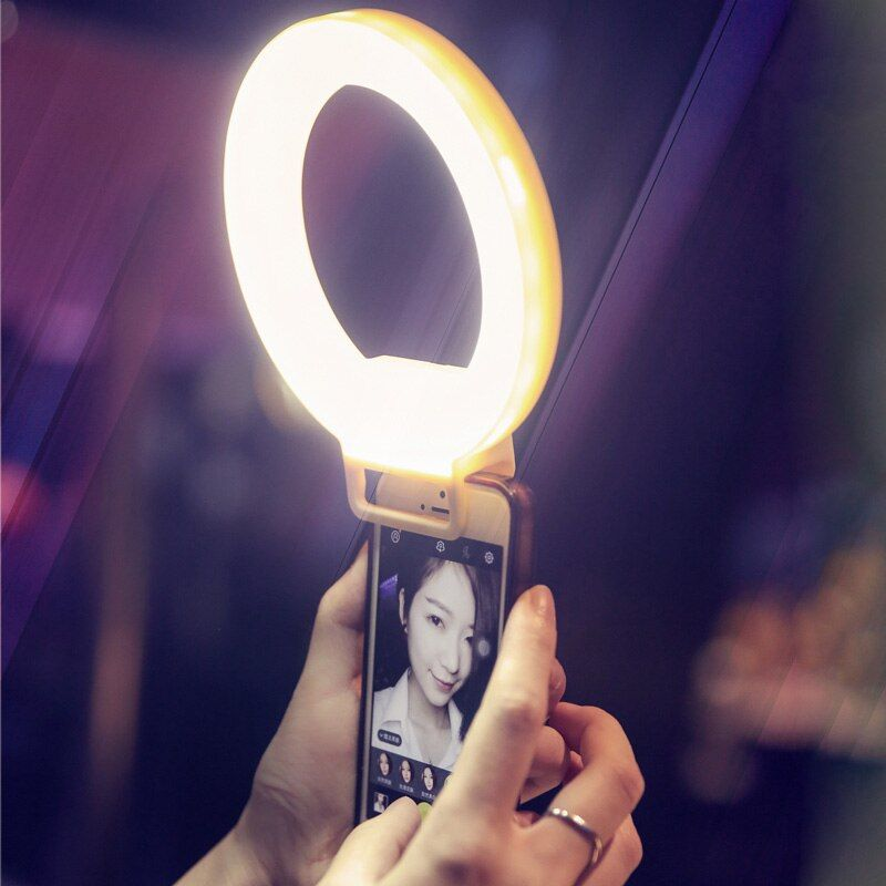 USB Charge LED Selfie Ring Light for iPhone X 8 7 Xs Phone Supplementary Lighting Night Darkness Selfie Enhancing Fill Light