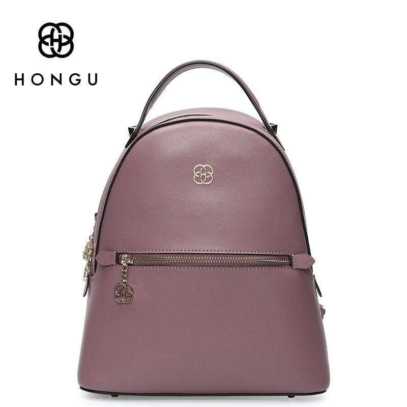 HONGU Famous Brands Women Backpack Ladies Shoulder Bags Fashion Leisure Upscale Genuine Leathe Bag For College Casual Versatile