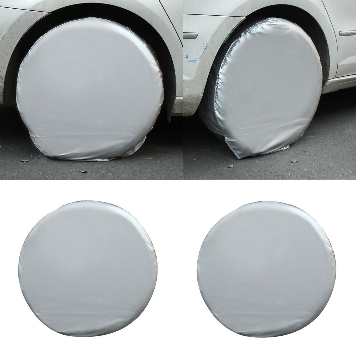 4PCs/Set  27''-29'' Car Auto Spare Wheels Tire Tyre Cover Heavy Duty Car Waterproof Tire Cover For RV Truck Trailer Motorhome