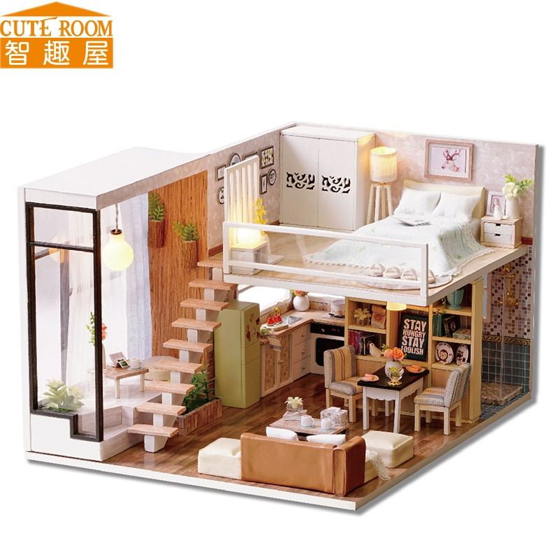 Assemble DIY Doll House Toy Wooden Miniatura Doll Houses Miniature Dollhouse toys With Furniture LED Lights Birthday Gift L020