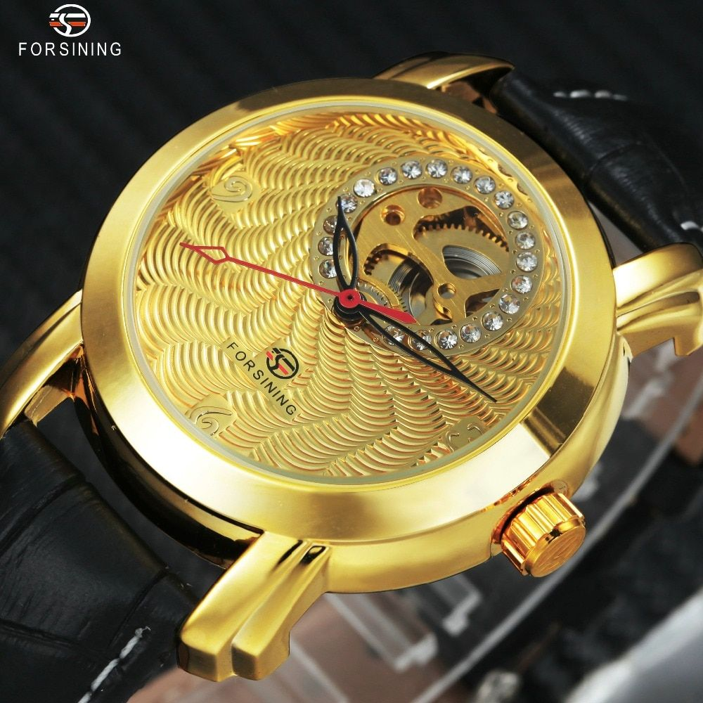 FORSINING Luxury Men Women Mechanical Watches 2018 Fashion Lover's Gift Crystal Decoration Delicate Dial Louvre Series Hollow