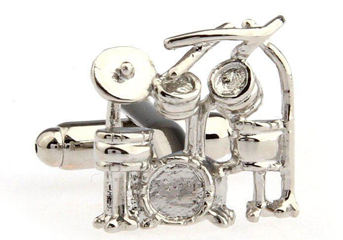 Free shipping Cufflinks  silver color drum set design copper material men cufflinks whoelsale&retail