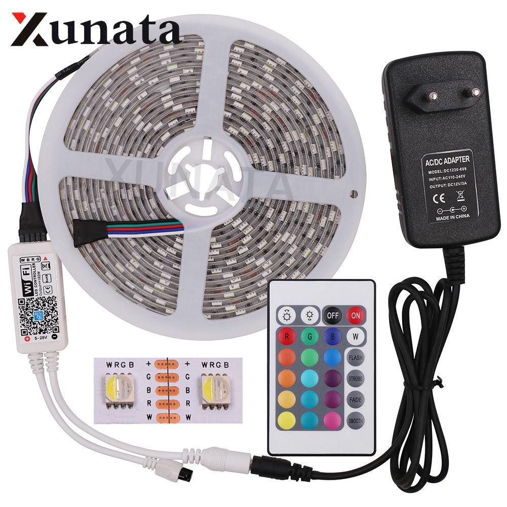 DC12V 5M 5050 RGB WIFI LED Strip Light Waterproof 60Led/m 4 In 1 Led RGBW RGBWW Led Strip Remote Controller Power Supply Kit