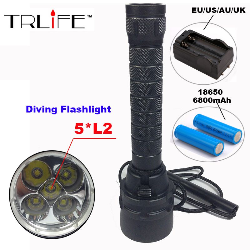 Diving flashlight cree xml 5*L2 T6 dive light 200M Underwater Waterproof Torch Tactical Flashlight Lantern with 2*18650+charger
