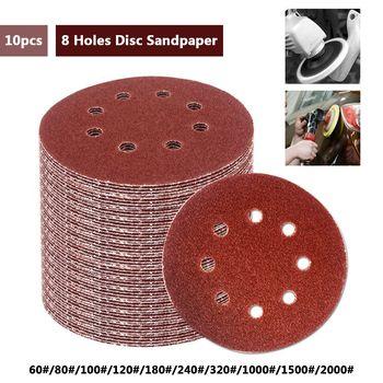 10 pcs 5 Pouce 125mm Ronde Papier de Verre Huit Trou Disque Sable Feuilles Grit 60-2000 Crochet et Boucle Disque de ponçage Polonais