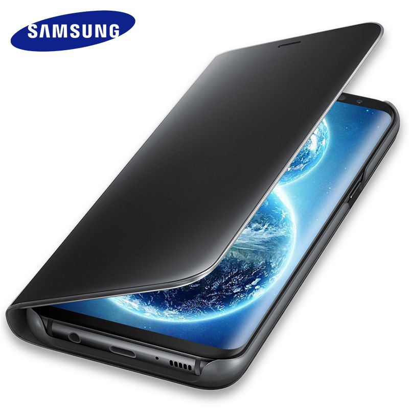 Samsung Galaxy S8 S 8 Plus Mirror Case Bracket Window Flip Cover 100% Original Smart Dormant Phone View Leather S8+ G9500 G9508
