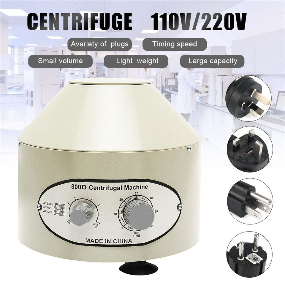 800D Electric Medical Lab Centrifuge Laboratory Machine Supplies prp Isolate serum 4000rpm 1790g 20ml x 6 centrifuge tubes