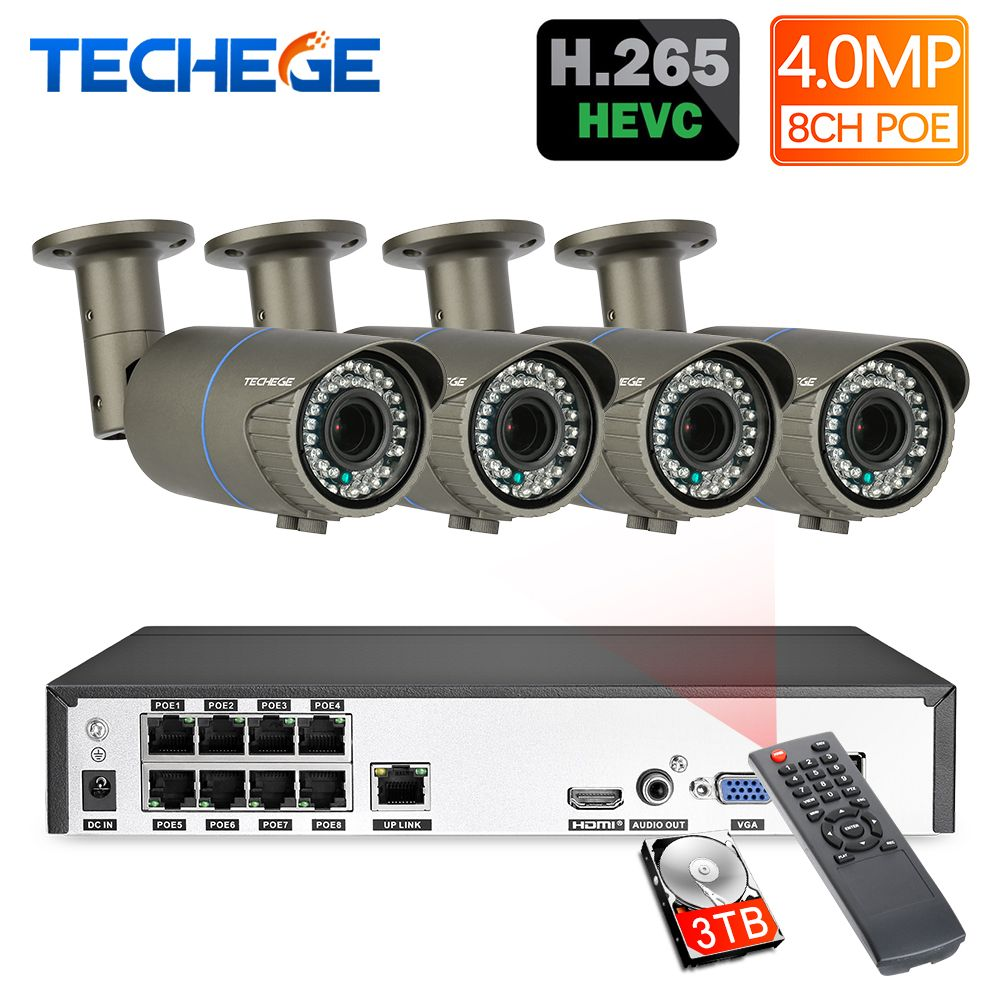 Techege H.265 8CH POE System 2,8-12mm Motorisierte Zoom Objektiv 4.0MP IP Kamera 2592*1440 Wasserdicht Onvif video Überwachung Kit