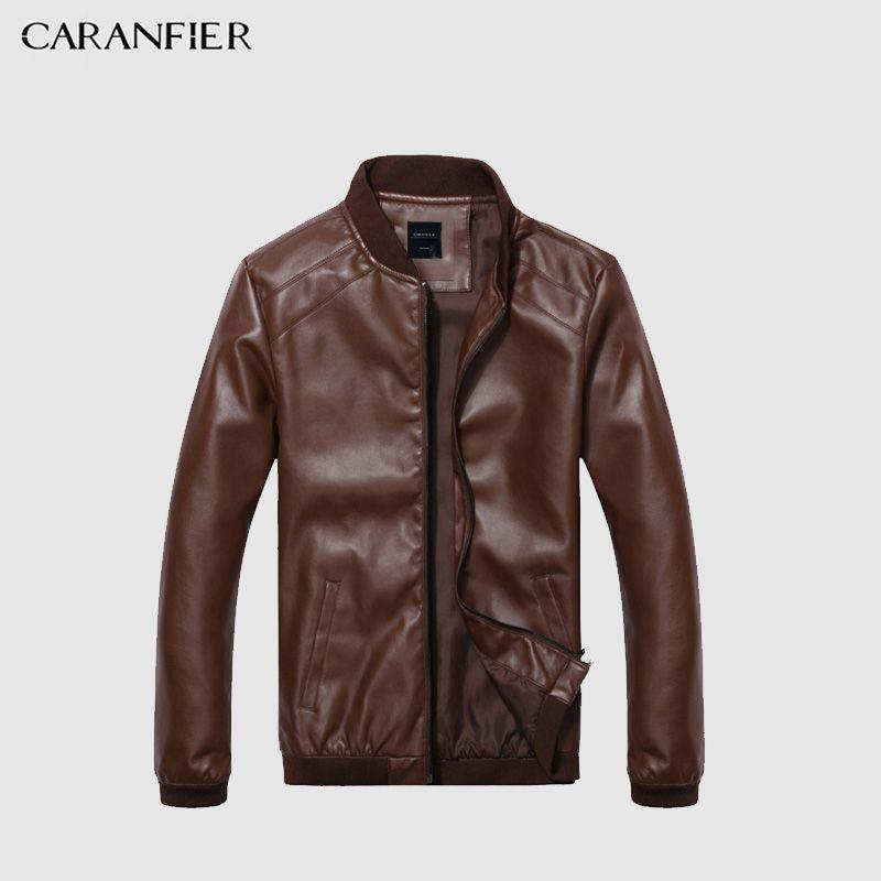 CARANFIER Leather Jacket Men Spring Autumn Thin Jacket Men Slim Fit Coat Top Quality Boutique Brand Casual denim Jackets Fashion