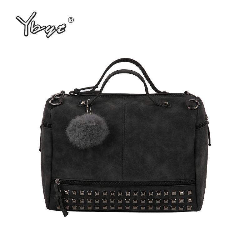 YBYT marke 2018 new fashion casual women handtasche hotsale damen großraum solid nietbeutel schulter messenger crossbody taschen