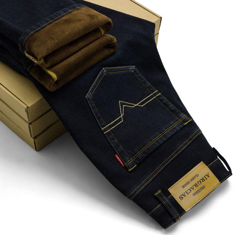Airgracias бренд мужские зимние стрейч Утолщаются Джинсы для женщин теплые флисовые Высокое качество джинсовые байкерские джинсы Брюки для дев...