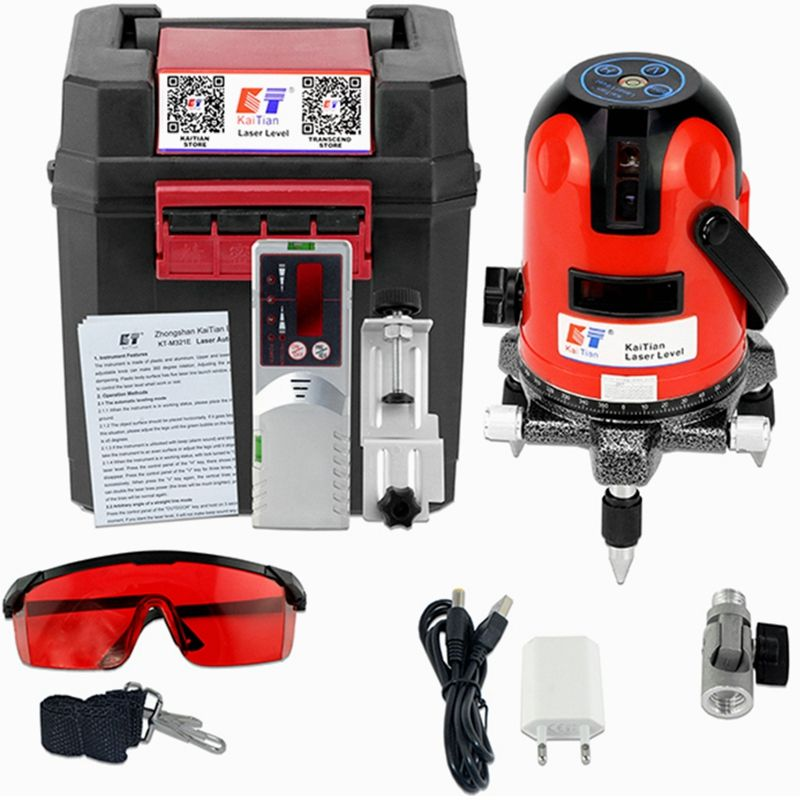 KaiTian Laser Level Receiver 2 Lines 2 Points Self-Leveling 360 Rotary Horizontal 635nm Vertical Livella Laser Line Levels Tools