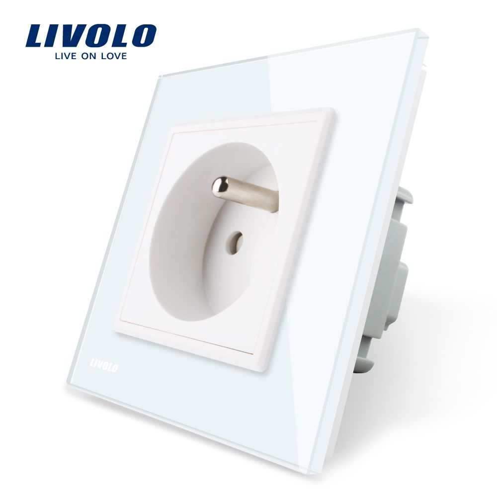 Livolo New Outlet,French Standard Wall Power Socket, VL-C7C1FR-11,White Crystal Glass Panel, AC 100~250V 16A