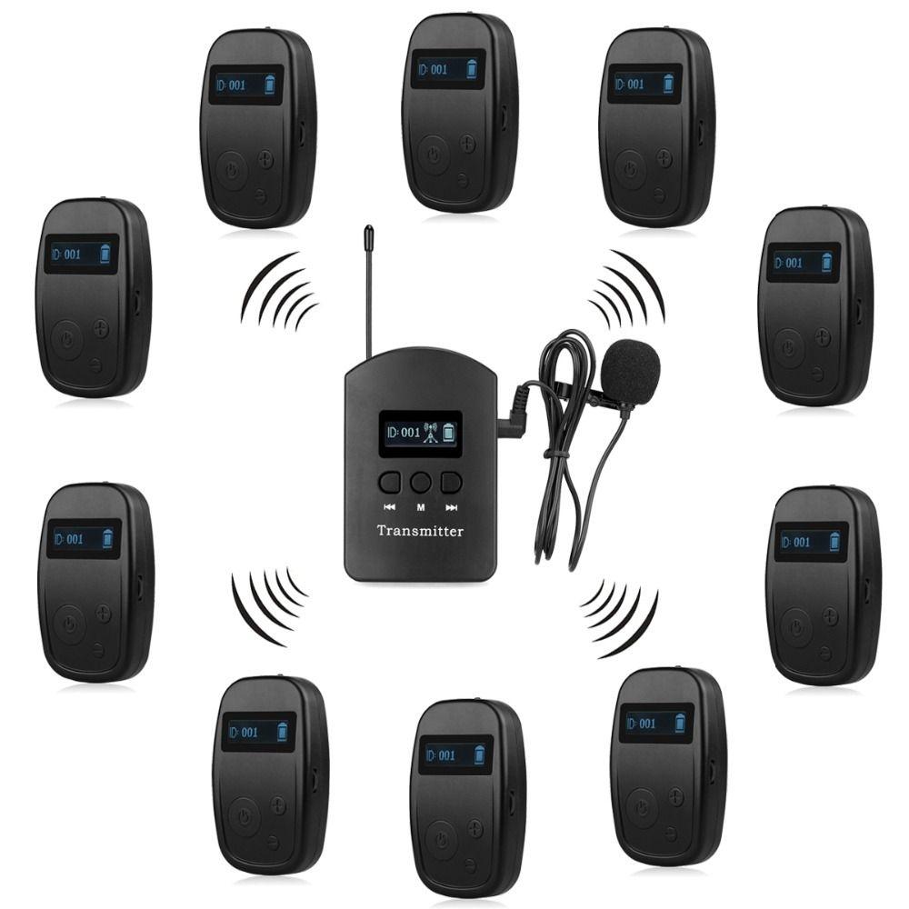 Wireless Tour Guide System 1 Sender + 10 Empfänger für Kirche Hören Lehre Reisen Konferenz Interpretation F4525