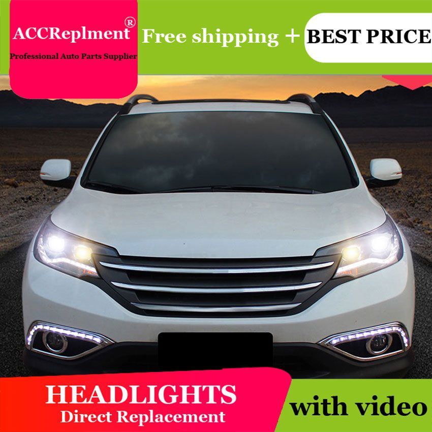 Auto styling Für Honda CRV scheinwerfer U engel augen 2012 Für Honda CRV LED licht bar Q5 bi xenon objektiv h7 xenon projektor Led-lampe