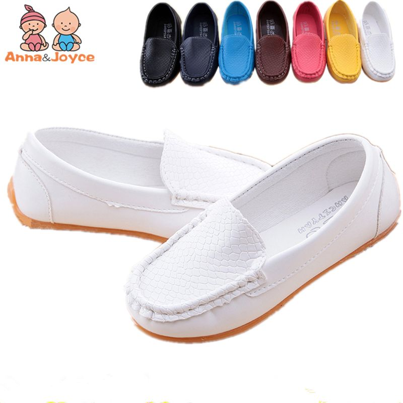 The Four Seasons Boys and Girls Casual Leather Shoes Children's Light Solid Color Shoes XZ0179