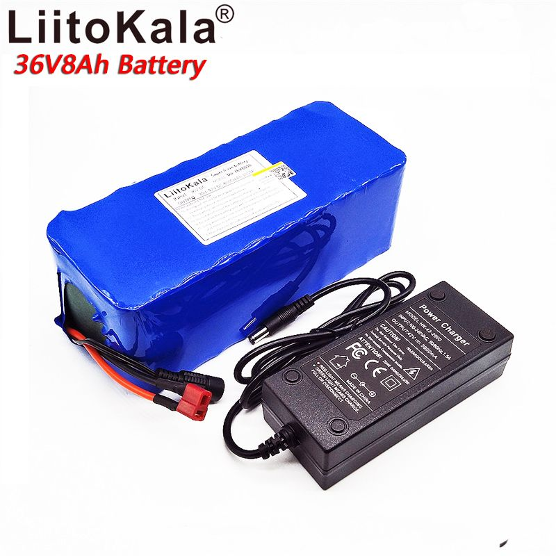 liitokala 18650 lithium battery 36V 8AH electric bicycle 500W with PVC electric bicycle housing 42V 2A charger