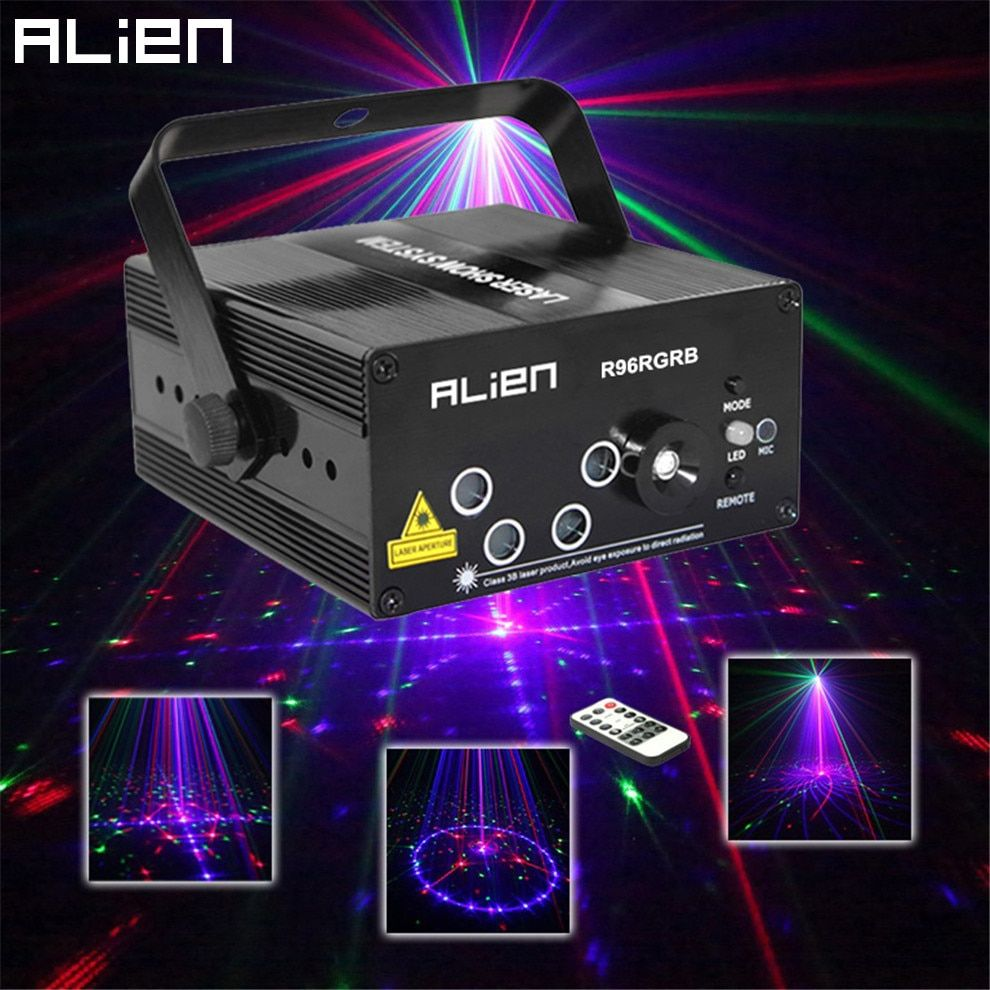 ALIEN New 96 Patterns RGB Mini Laser Projector Light DJ Disco Party Music Laser <font><b>Stage</b></font> Lighting Effect With LED Blue Xmas Lights