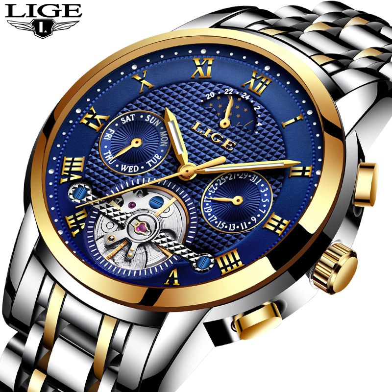 Mens Watches Top Brand LIGE Luxury Automatic Mechanical Watch Men Full Steel Business Waterproof Sport Watches Relogio Masculino