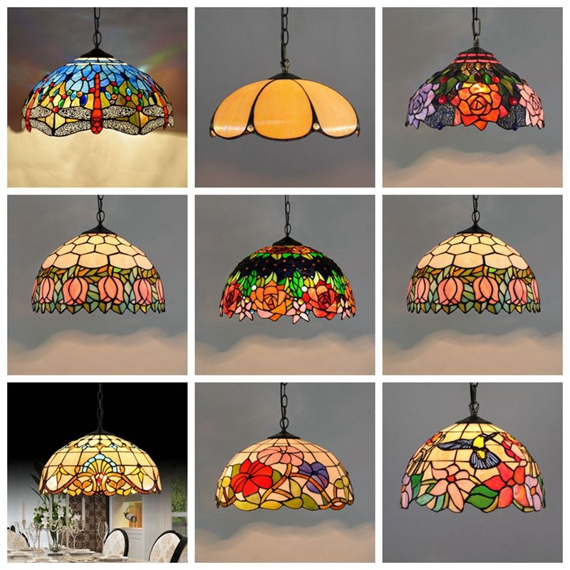 Baroque Tiffany Pendant lights Stained Glass Chain Lighting Suspended Luminaire for Home Parlor Dining Room Lamps E27 110-240V