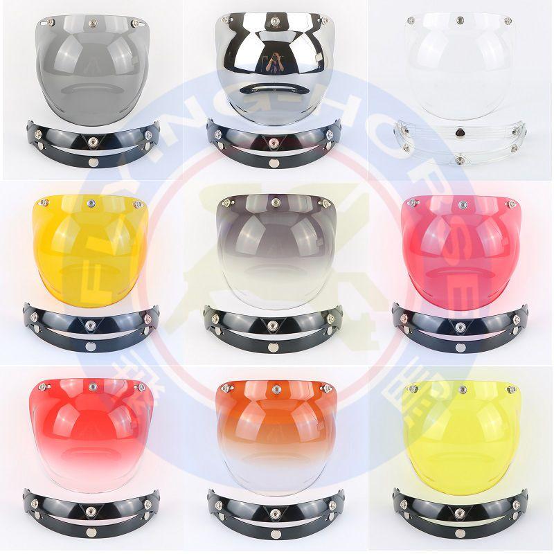 Miroir 3-boutons pression vintage rétro casque moto jet bulle bouclier visière bouclier lentille en verre Beon Torc Gxt face ouverte casque lunettes