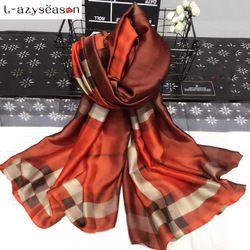 L-azyseason Mode Foulard De Soie De Luxe Femmes Marque bandana Foulards pour Femmes Châle de Haute Qualité Imprimer hijab wrap 70.87X35.43 POUCES