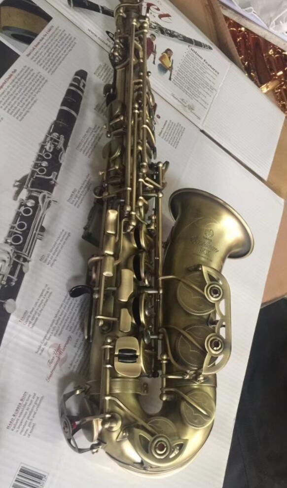 Professional Alto Saxophone YAS 875EX as Original E flat Antique Copper Hemp Black Nickel Drawing Process Musical Instrument