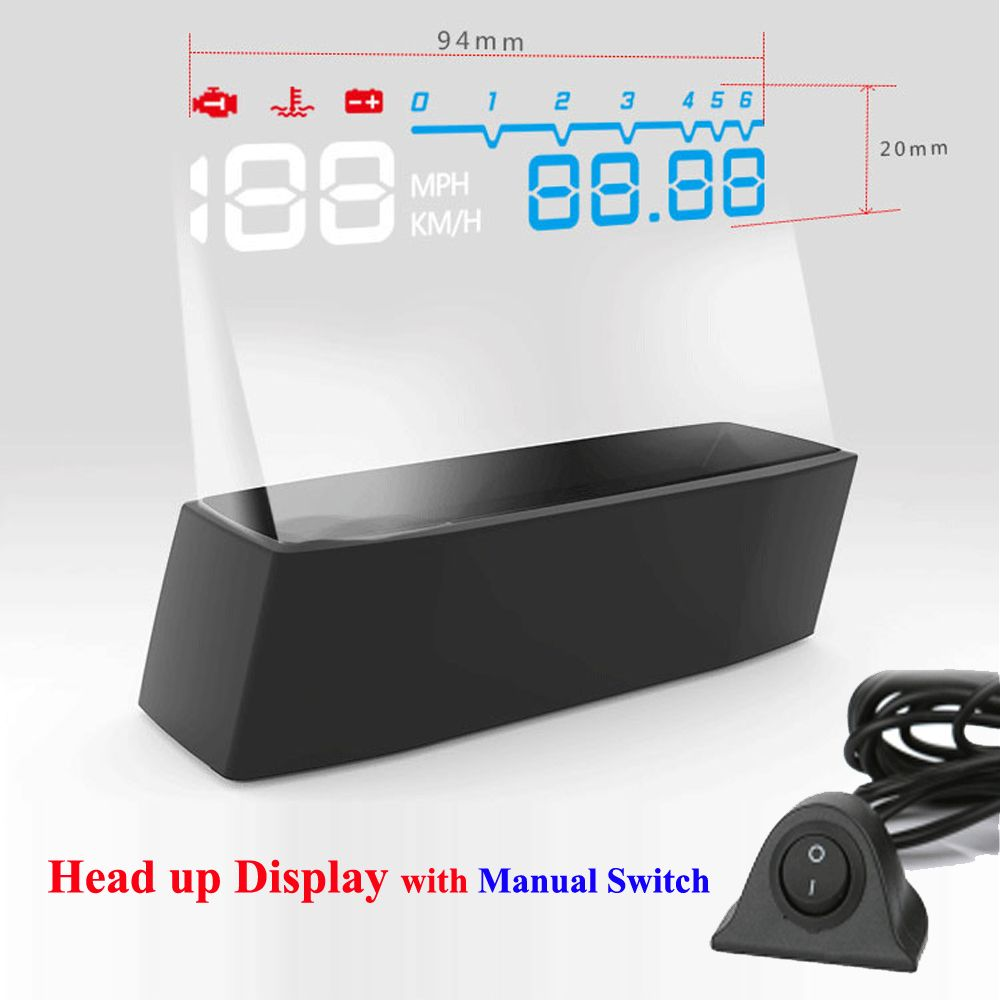 2017 4F Headup Display HUD Car Projector OBD II EOBD System RPM Speed Fuel Consumption with Manual Switch Head Up Display Car
