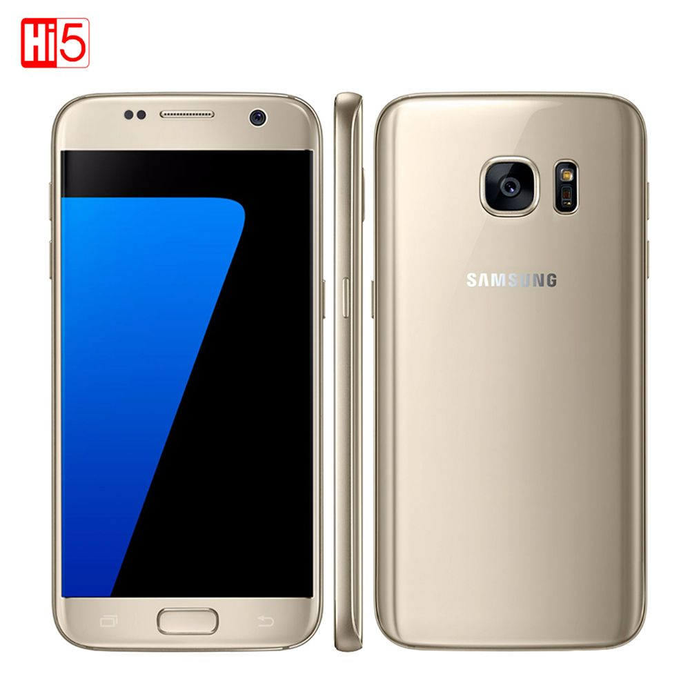 Unlocked Samsung Galaxy S7 Smartphone 5.1'' 4GB RAM 32GB ROM Quad <font><b>Core</b></font> NFC 12MP 4G LTE Fingerprint G930V/G930F straight screen