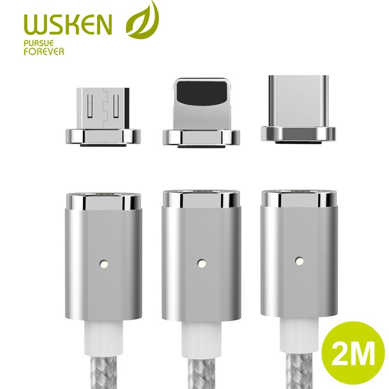 2M WSKEN Mini 2 Magnetic <font><b>Cable</b></font> For iPhone <font><b>Cable</b></font> Magnetic Charger Fast Charging Micro USB Type C <font><b>Cable</b></font> For Samsung S7 S8 USB C