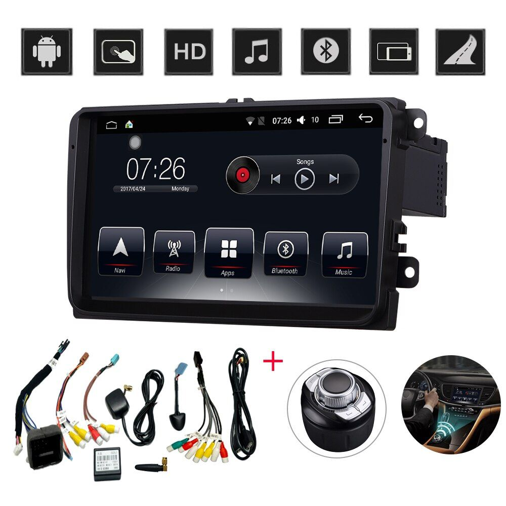 D-NOBLE 9 Inch Android 6.0 Car DVD Player 2GB/32GB 1 Din Bluetooth WiFi Car Radio Stereo GPS Navigation for VW Universal