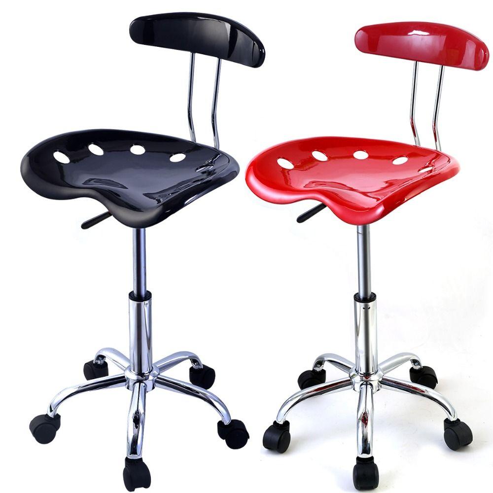 Goplus RU 1PC Adjustable Bar Stools ABS Tractor Seat Swivel Chrome Kitchen Breakfast Black Red Home Bar Furnitures HW48530