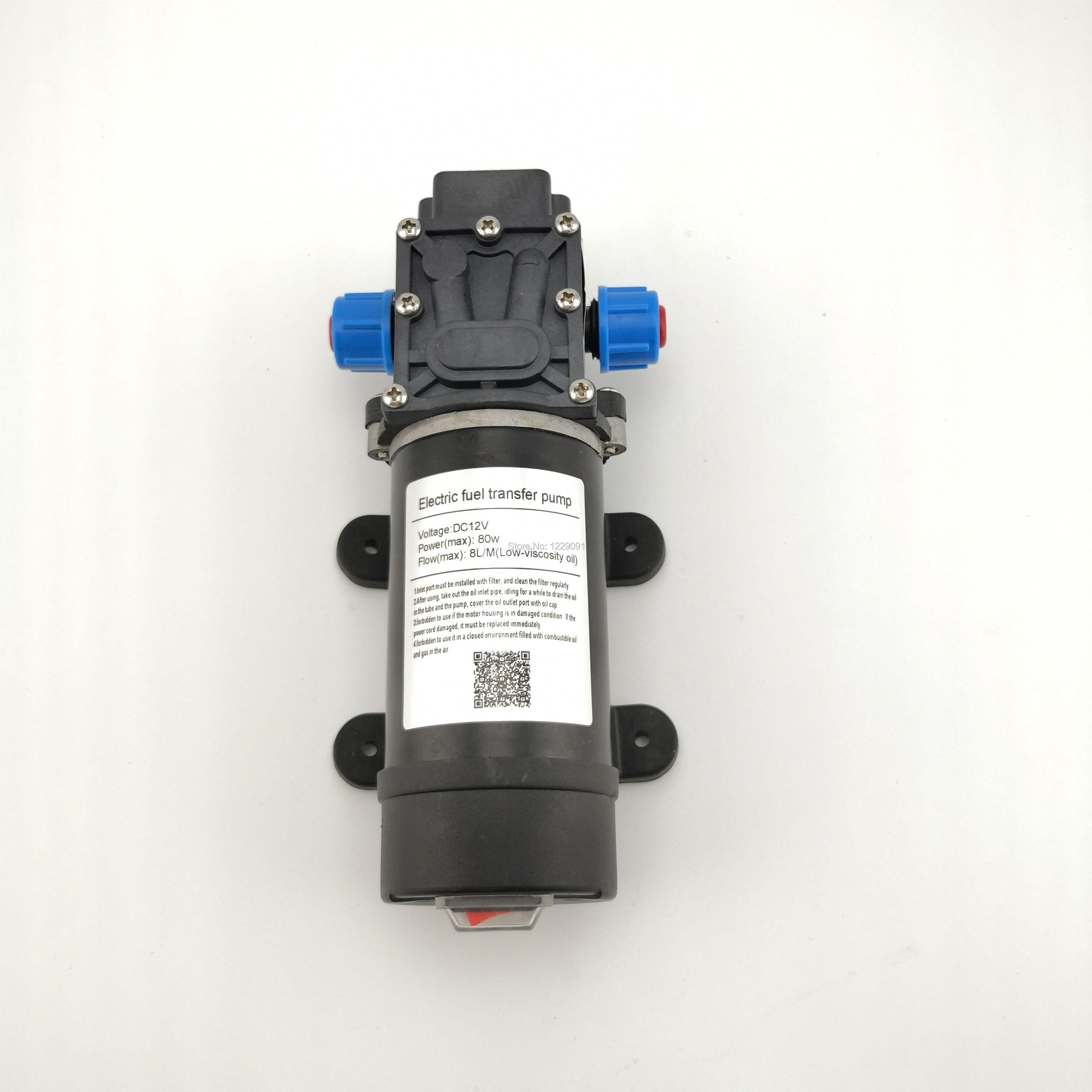 80 w 8LPM petite pompe de transfert de carburant auto-amorçante électrique 12 V et 24 V essence Diesel kérosène transfert d'huile ravitaillement