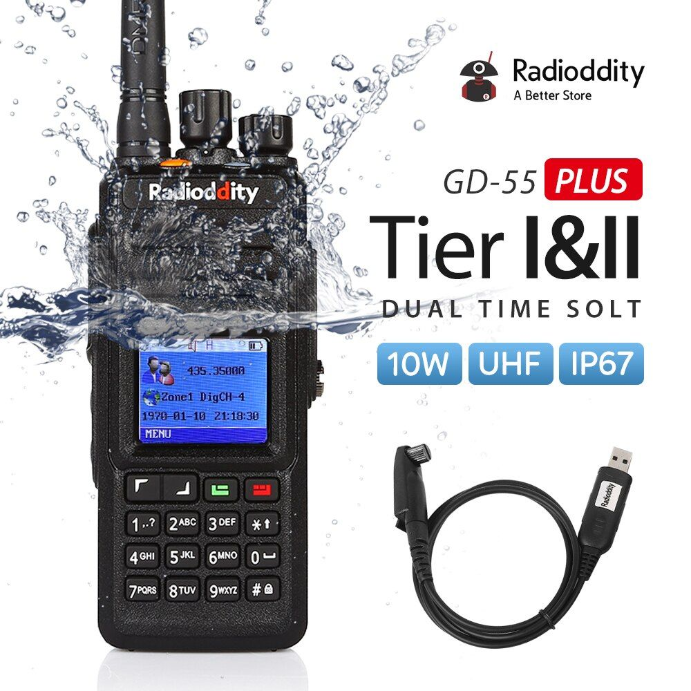Radioddity GD-55 Plus 10 W IP67 Étanche UHF 400-470 MHz DMR Numérique Ham Two Way Radio Talkie Walkie Mototrbo Niveau I & II