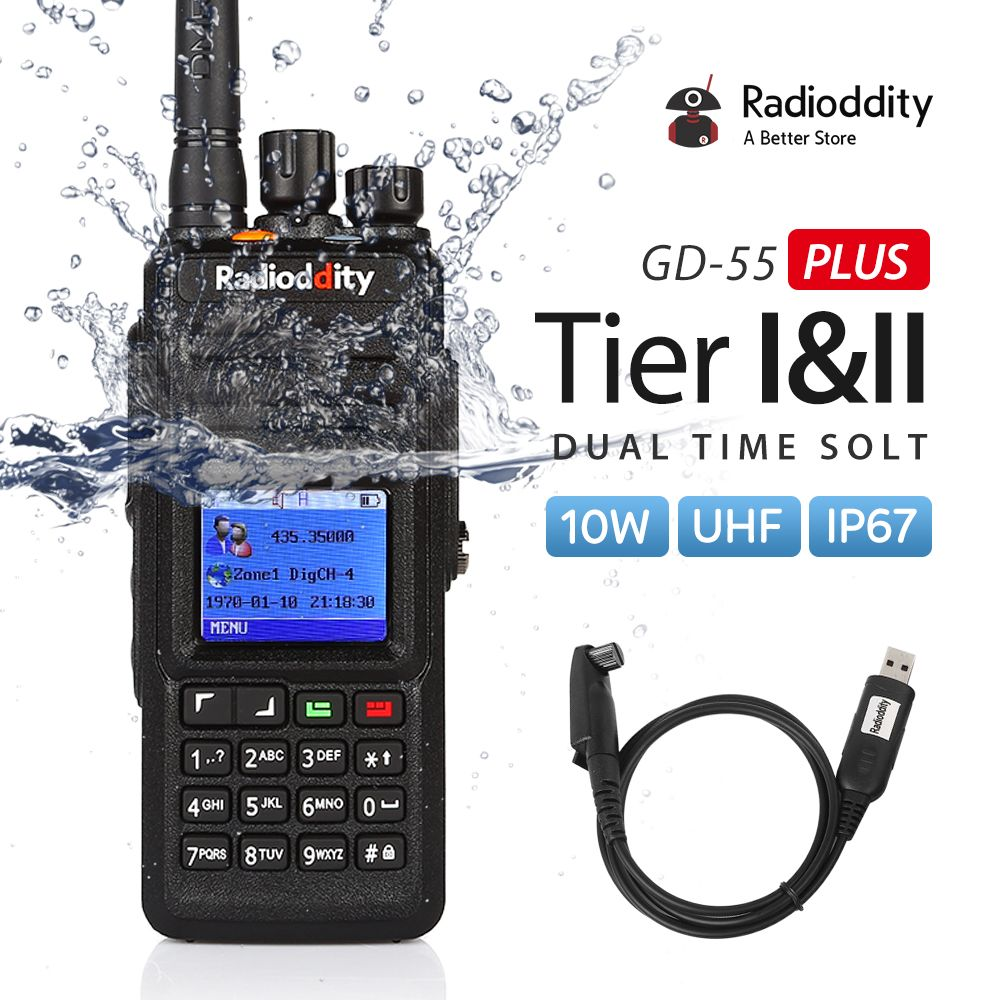 Radioddity GD-55 Plus 10W IP67 Waterproof UHF 400-470MHz DMR Digital Ham Two Way Radio Walkie Talkie Mototrbo Tier I&II