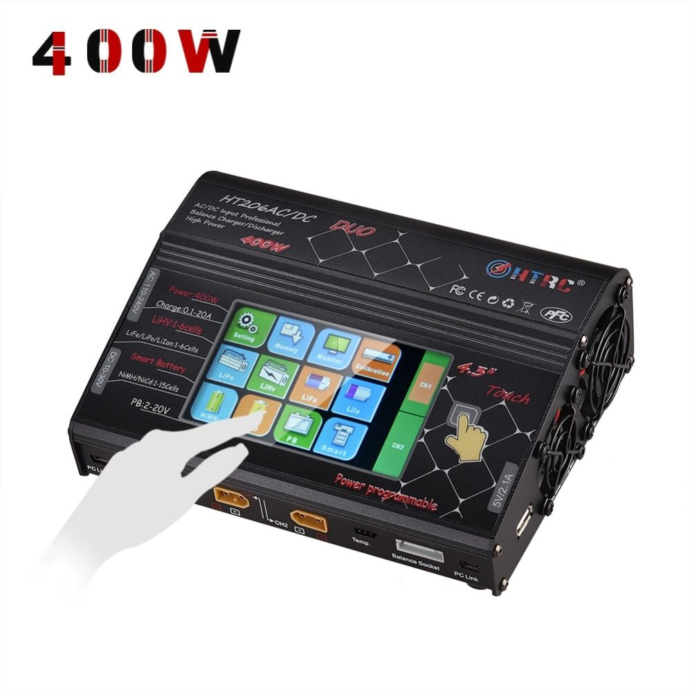 HTRC HT206 DUO AC/DC 200W*2 20A*2 Dual Port High Power Color Touch Screen RC Balance Charger for Lilon/LiPo/LiFe/LiHV Battery