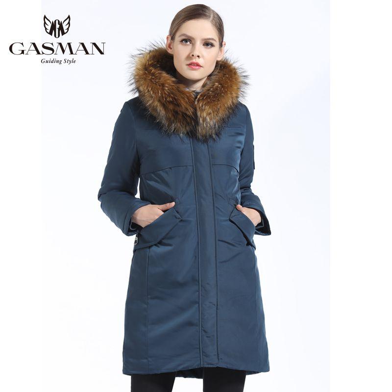 GASMAN 2019 Neue Winter Sammlung frauen Parka Mit Kapuze Warme Jacke Für Frauen Parka Padded Mantel Winter Natur Pelz Kragen waschbären
