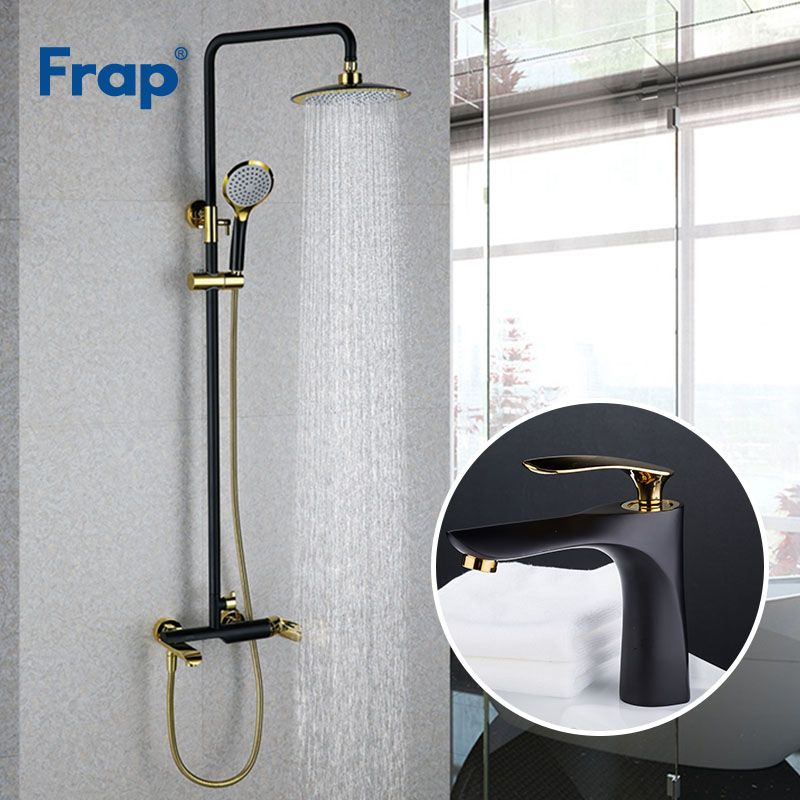 Frap Black Golden Bathroom Shower Faucet With Basin Faucet Cold and Hot Water Mixer Tap Wall Mounted faucets Crane Y24001+Y10057