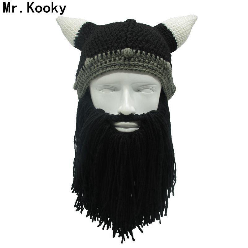 Monsieur. Dingues Barbare Viking Beanie Barbe Corne Chapeau Fait Main Tricot D'hiver Chapeau chaud Hommes Femmes D'anniversaire Frais Drôle Gag Parti De Noël cadeaux