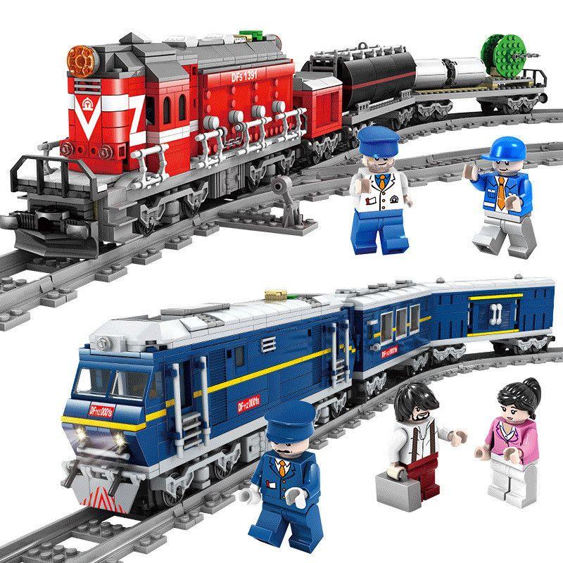 2018 NEW LegoING City Train Power-Driven Diesel Rail Train Cargo With Tracks Set Model Technic Building Blocks Toys for Children