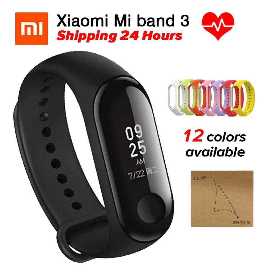Xiaomi Miband 3 Mi <font><b>Band</b></font> 3 Fitness Tracker Heart Rate Monitor Smart Wristband 0.78'' OLED Display Touchpad Bluetooth 4.2 Android