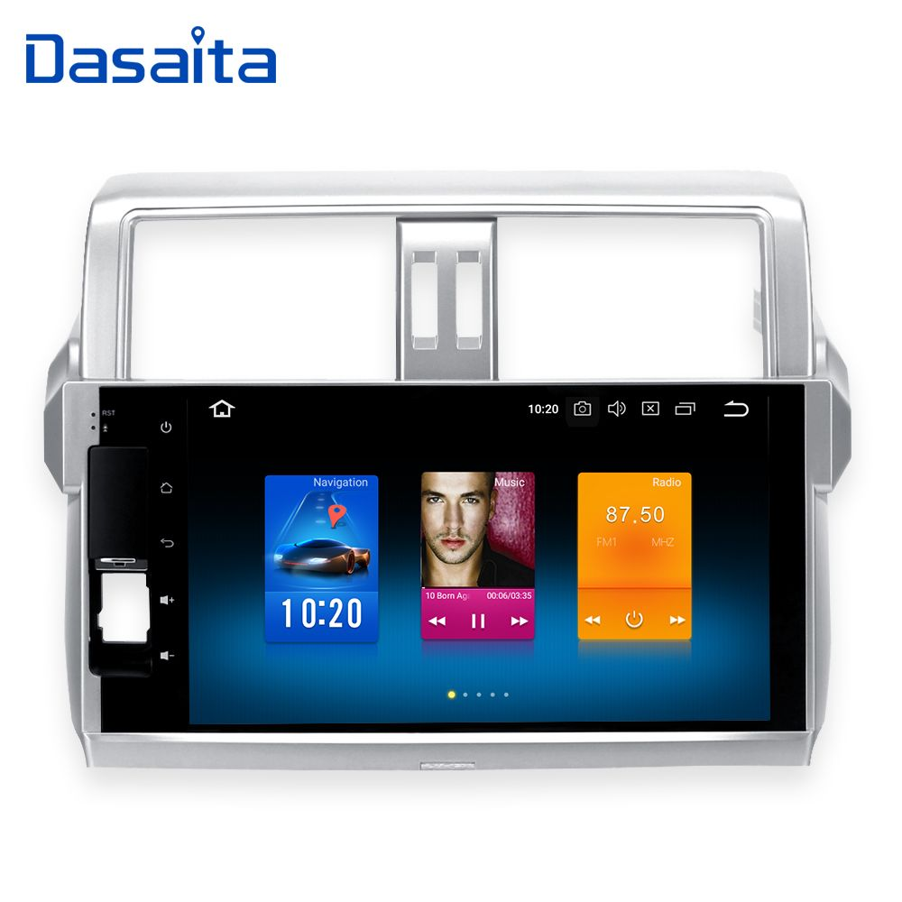 Dasaita Android 8.0 Car Double Din for Toyota New Prado 150 2014 2015 Build in GPS 1024*600 10.2