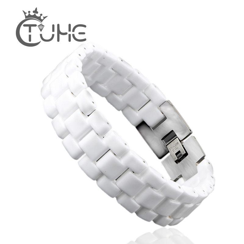 Unisexe mode hommes Bracelet élégant bijoux blanc convexe Bracelet en céramique Bracelet pour hommes femmes 22cm montre lien Bracelet Durable