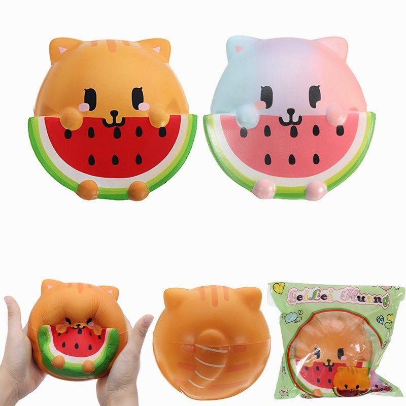 New Arrival LeiLei Huang Soft Lovely Cat Eating Watermelon Jumbo 14cm Slow Rising Original Packaging Gift Cell Phone Straps