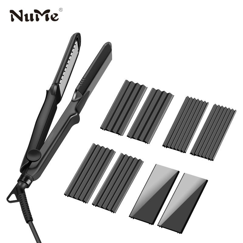 4 in 1 Hair Curler Negative Ions Hair Straightener 4 Interchangeable Plates Ceramic Flat Iron Corrugation Curling Iron styling