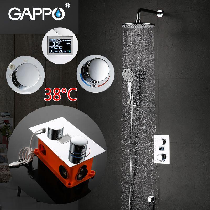 GAPPO luxus badezimmer smart duschkopf thermostat regendusche set thermomischer wasserfall dusche system